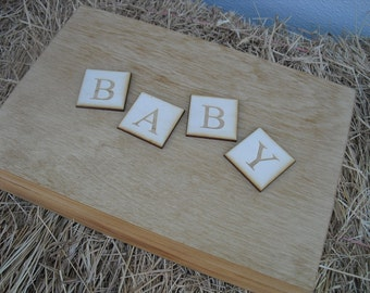 Baby Keepsake Box Baby Book Alternative Personalized Wood Shower Guest Book Baby Memory Book  - Item 1395