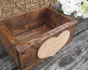 Personalized Centerpiece Box Flower Box Planter Box Old Barnwood Style Rustic Wedding Box  - Item 1402