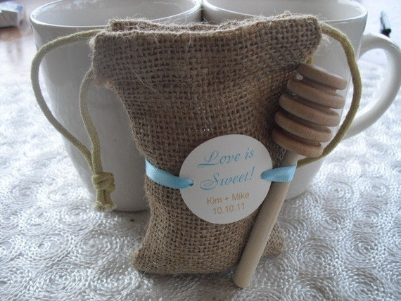 Love is Sweet Personalized Burlap Favor Bags with Honey Dipper - Set of 75 - Item 1137