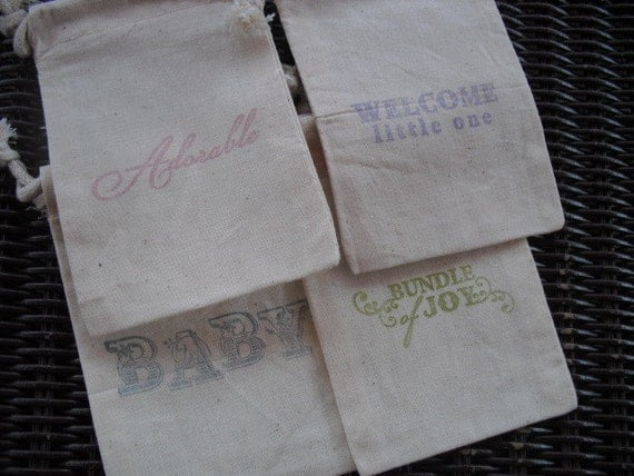 Favor Bags - Baby Shower Favor Bags, Handmade Baby Shower Favors - Item 1275