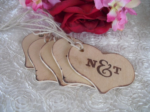 Favor Tags - SET OF 10 Personalized Monogram Rustic Wood Heart Favor Gift or Bag Tags - Item 1016