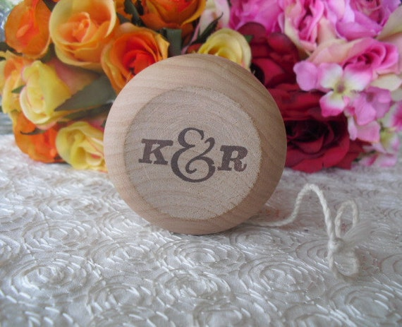 SET OF 10 Vintage Style Monogram Personalized Wood Yo Yo Favors - Item 1183