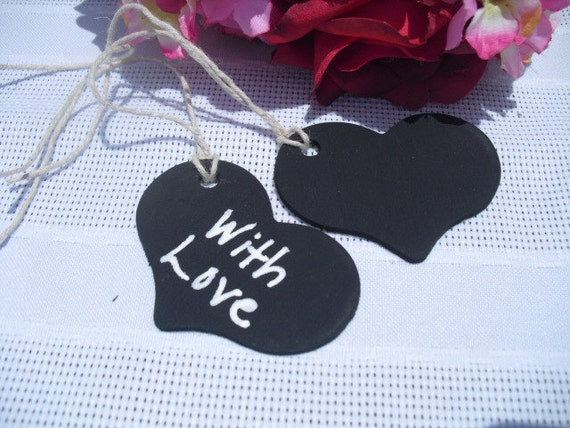 Favor Tags - SET OF 10 Chalkboard Heart Tags with Twine or Ribbon - Item 1167