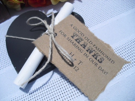 Favors - SET OF 10 Chalkboard Heart Wedding Favor Magnets with Chalk Tag and Twine - Item 1082