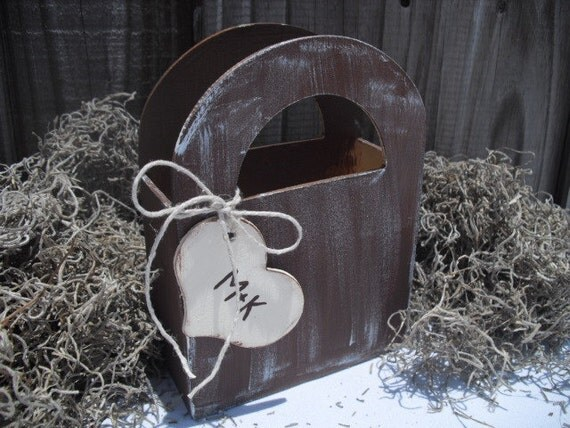 Flower Girl Basket - ONE Rustic Wood Flower Girl Basket Box with Personalized Tag (You Choose Color) - Item 1255