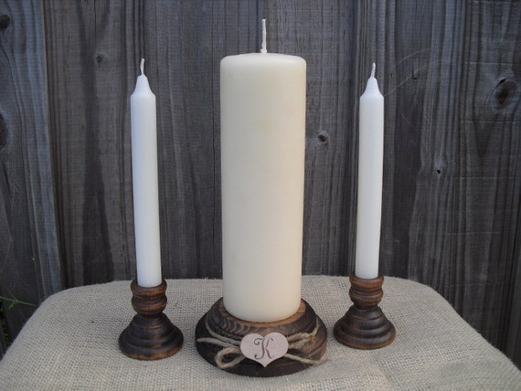 Wood Unity Candle Set - Rustic with Monogram - Item 1008
