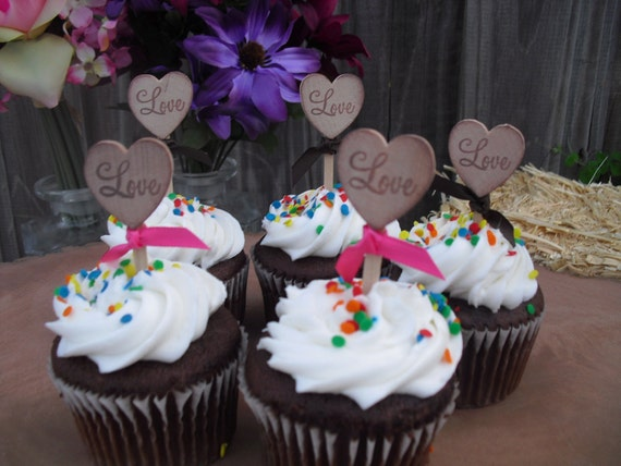 SET OF 12 Rustic Heart Cupcake Toppers - Item 1107