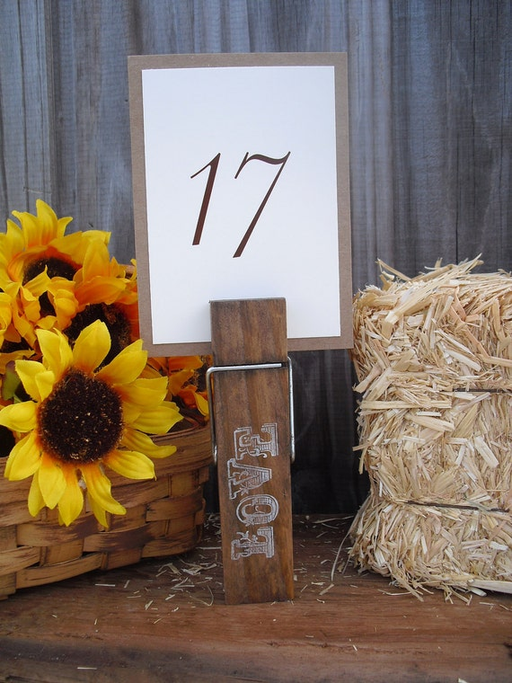 Giant Clothespin Western Rustic Table Number Holders - Item 1033