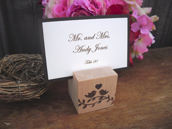 Escort Card Holders - SET OF 10 Wood Love Bird Place Card Holders - Item 1044