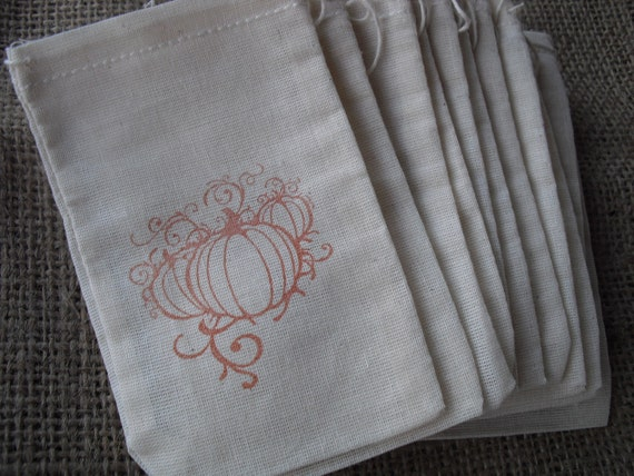 Favor Bags - SET OF 10 Fall Pumpkin Muslin Favor Bags Gift Bags or Candy Bags - Item 1144