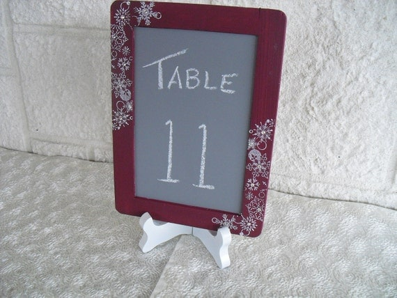 SMALL Winter Snowflake Chalkboards with EASELS for Signs and Table Numbers or Photo Props - Item 1276