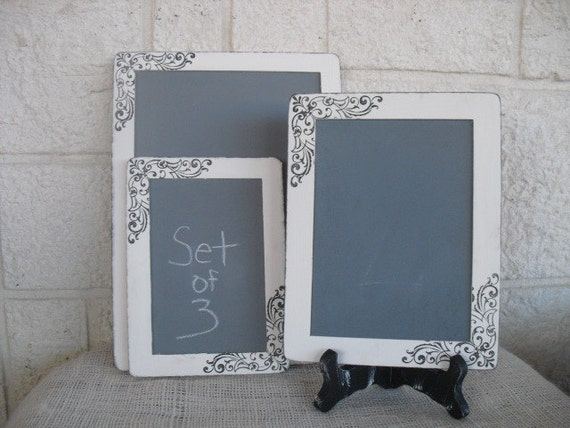 SET of 3 Shabby Chic Damask Chalkboards with EASELS for Signs and Table Numbers or Photo Props - Item 1241
