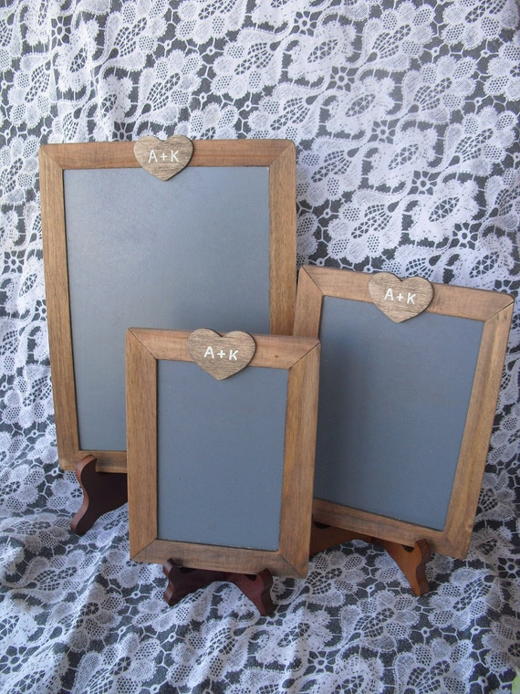 Rustic Photo Prop Chalkboard Easel Sets. Great for Table Numbers, Candy Bar, Dessert or Coffee Bar Signs- Set of 3 Item 1382