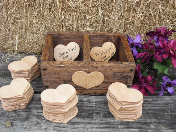 GUEST BOOK ALTERNATIVE Rustic Wedding Divided Rustic Barnwood Style Box with Engraved Heart  - Item 1400