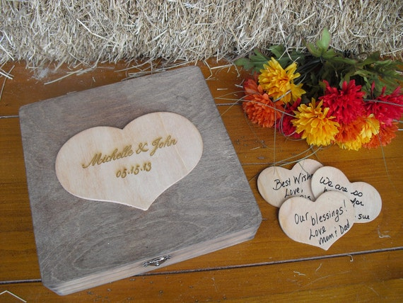 GUEST BOOK ALTERNATIVE Engraved Rustic Wedding Wood Box Personalized  Set for 50 guests - Item 1100