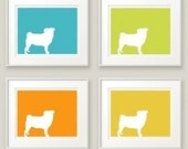 Your Choice of 4 Dog Prints - Set of Four 11x13 prints in any colors - Discounted price
