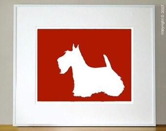 Mod Scottish Terrier Fine Art Print 8x10