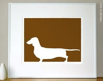 Mod Dachshund - 16x20 Fine Art Silhouette Dog Print in your choice of color