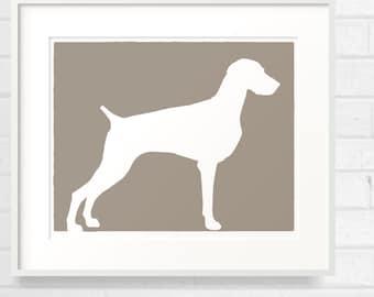 Mod Weimaraner Dog - Grey Ghost - 8x10 Fine Art Print