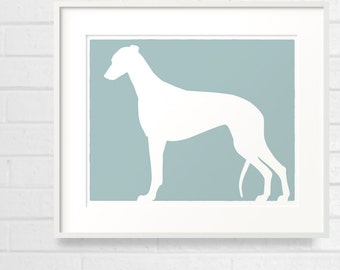 Mod Greyhound Silhouette Dog 8x10 Print