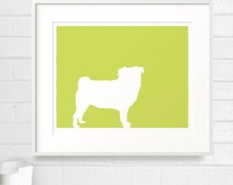 Mod Pug Dog Silhouette Fine Art Print - 5x7