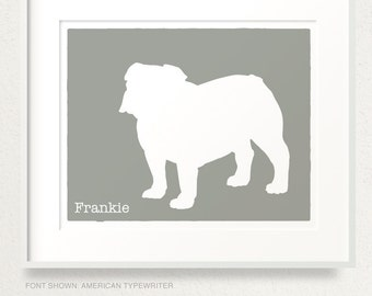 Mod English Bulldog Dog Personalized Silhouette Art Print with Custom Name - 8x10