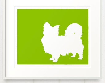 Mod Long Coated Chihuahua Longhaired Fine Art Dog Print Silhouette - 8x10