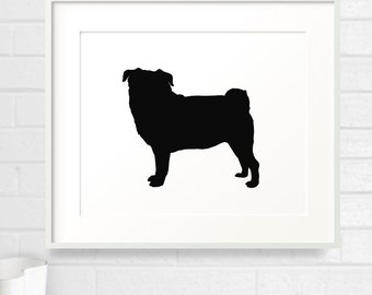Mod Pug Print - 8x10 - Color Silhouette on White Background