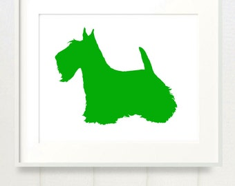 Mod Scottie Dog Scottish Terrier Print - 8x10 - Color Silhouette on White Background