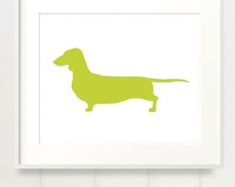 Mod Doxie Dachshund Dog Print - 8x10 - Color Silhouette on White Background
