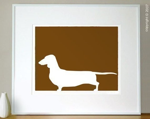 Dachshund Silhouette Print - 8x10 Fine Art Mod Dog Decor in your choice of color
