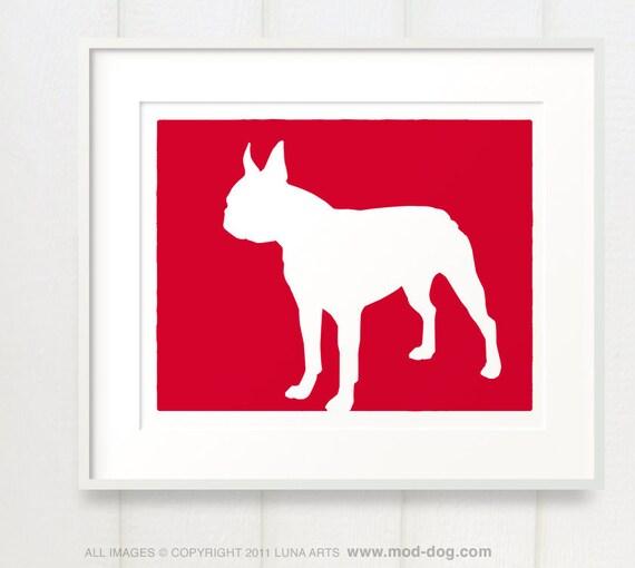 Mod Boston Terrier Silhouette - 8x10 Dog Fine Art Print