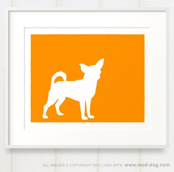 Mod Chihuahua Fine Art Dog Print Silhouette - 8x10