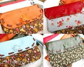 Multi-Coloured Leather and Floral Cotton Pouch