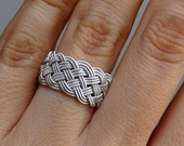 Sterling silver flexible soft ring: Turk's head knot hand tied braided