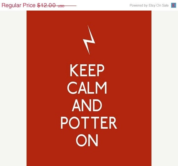 Free Shipping And 20% Off Keep Calm and Potter On - 5 x 7 Harry Potter Quote Print