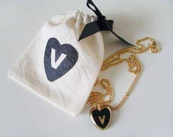 "V - vintage initial heart necklace (16"") with matching pouch"