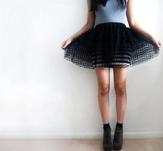 JET- Made-to-order Black Spot Tulle Mini Skirt
