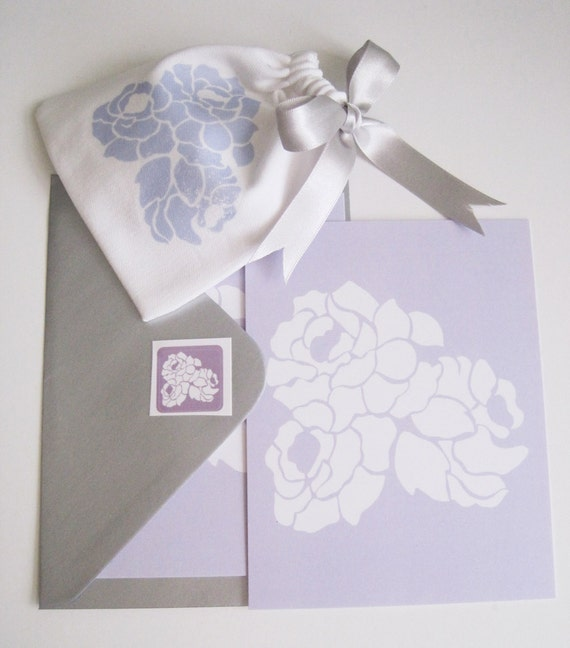 Lilac Writing & Gift pouch set - 1pouch/1 envelope/1 sticker/2 notecards