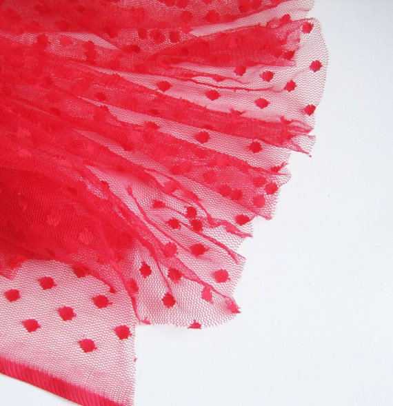 """Red spot tulle fabric - 44"""" wide - sold per metre"""