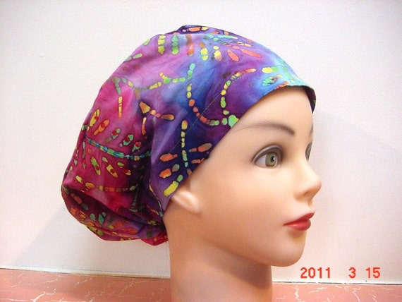 Womens Less Is More (LIM) Scrub Hat Chemo Cap Blue Maroon Multicolor Batik Leaf