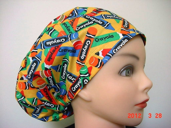 Womens Less Is More (LIM) Scrub Hat Chemo Chef Cap Multicolor Crayola Crayon Novelty