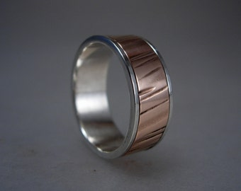 Sterling Silver Channel Ring with Heavy Gauge Textured Copper