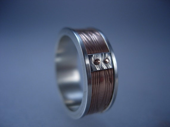 Sterling Silver Channel Ring with Embossed Copper, Collar and Rivets