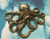 Brass Ox Plated Large Octopus Stamping Pendant 693BOX x1