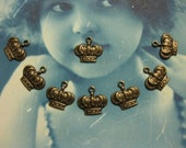Brass Ox Plated Crown Charms 388BOX x6