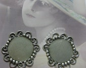 Silver Ox Plated Lace Edge Settings Charms 224SOX x4