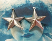 Silver Ox Double Sided Star Charms 132SOX x2
