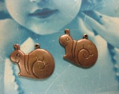 Clearance Closeout Sale Copper Ox Plated Sweet Little Snail Charms Stampings 149COP x2