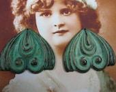 Verdigris Patina Brass Vintage Flourish Shape 434VER x2